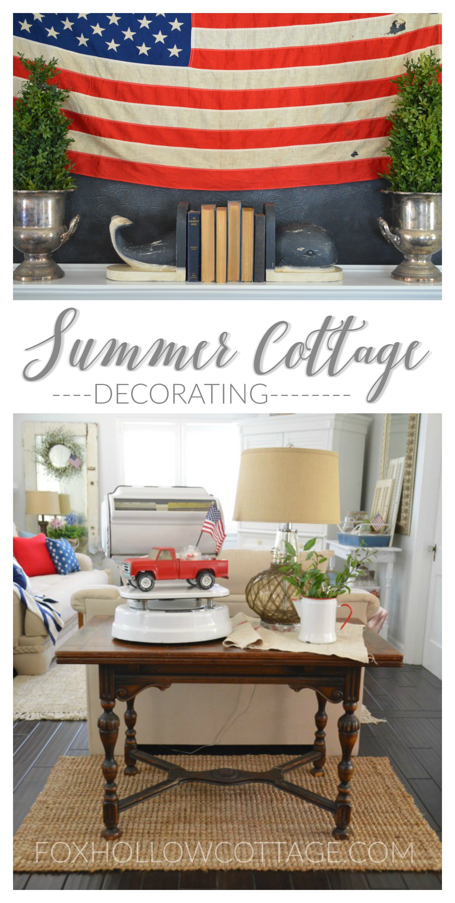 Summer Cottage Decorating at foxhollowcottage.com - Eclectic Nautical Coastal Vintage Style Home Decor