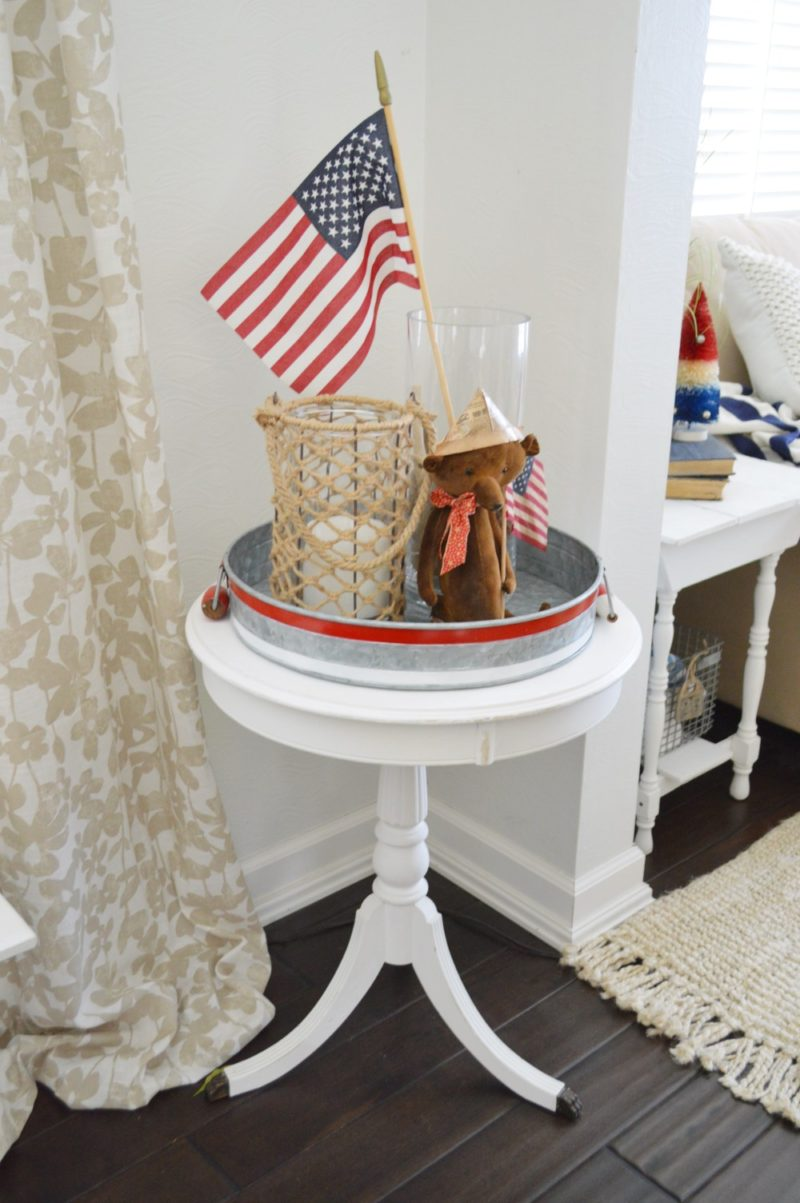 Summertime at Fox Hollow Cottage - Coastal cottage decorating, white wood Duncan Phyfe table, galvanized metal tray, vintage teddy bear with US flag