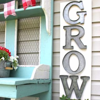 Tin-Grow-Sign-Red White and Aqua Blue Potting Bench