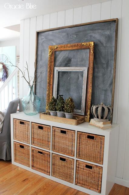 Shiplap Entryway, chalkboard art, vintage frames.