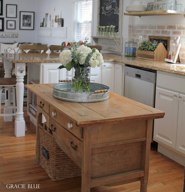 Gracie Blue Home Tour - White Farmhouse Kitchen with Vintage Antique Island