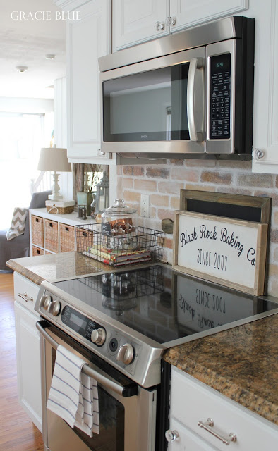 White Kitchen Makeover, Black Rock Baking Company Wood Sign, adding farmhouse charm by Gracie Blue
