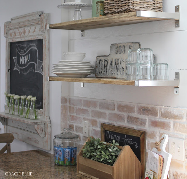 Farmhouse Cottage Kitchen, brick back splash and open shelves - Gracie Blue