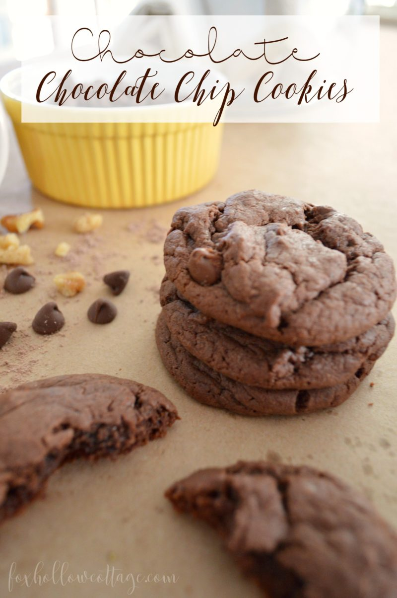 Chocolate Chocolate Chip Cookie www.foxhollowcottage.com Easy Cake Mix Cookie Recipe