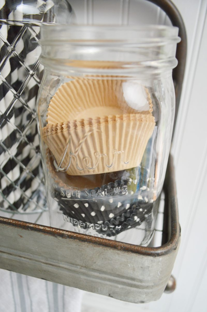 Galvanized Metal Shelf Ball Mason Jar Display - Fox Hollow Cottage .com - modern farmouse decorating