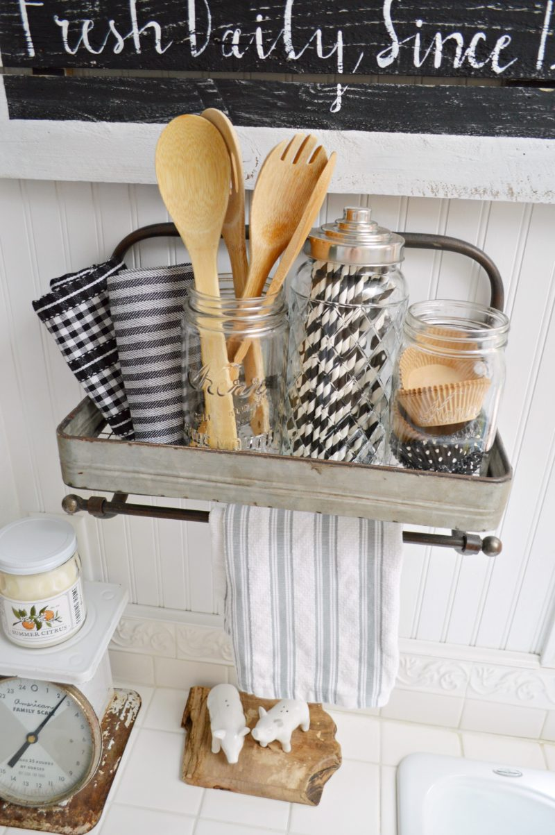 Galvanized Metal Shelf Kitchen Organizer Display - Fox Hollow Cottage .com - modern farmouse decorating