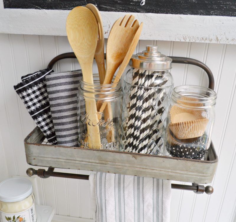 Galvanized Metal Shelf Kitchen Organizer and Display - Fox Hollow Cottage .com - modern farmouse decorating