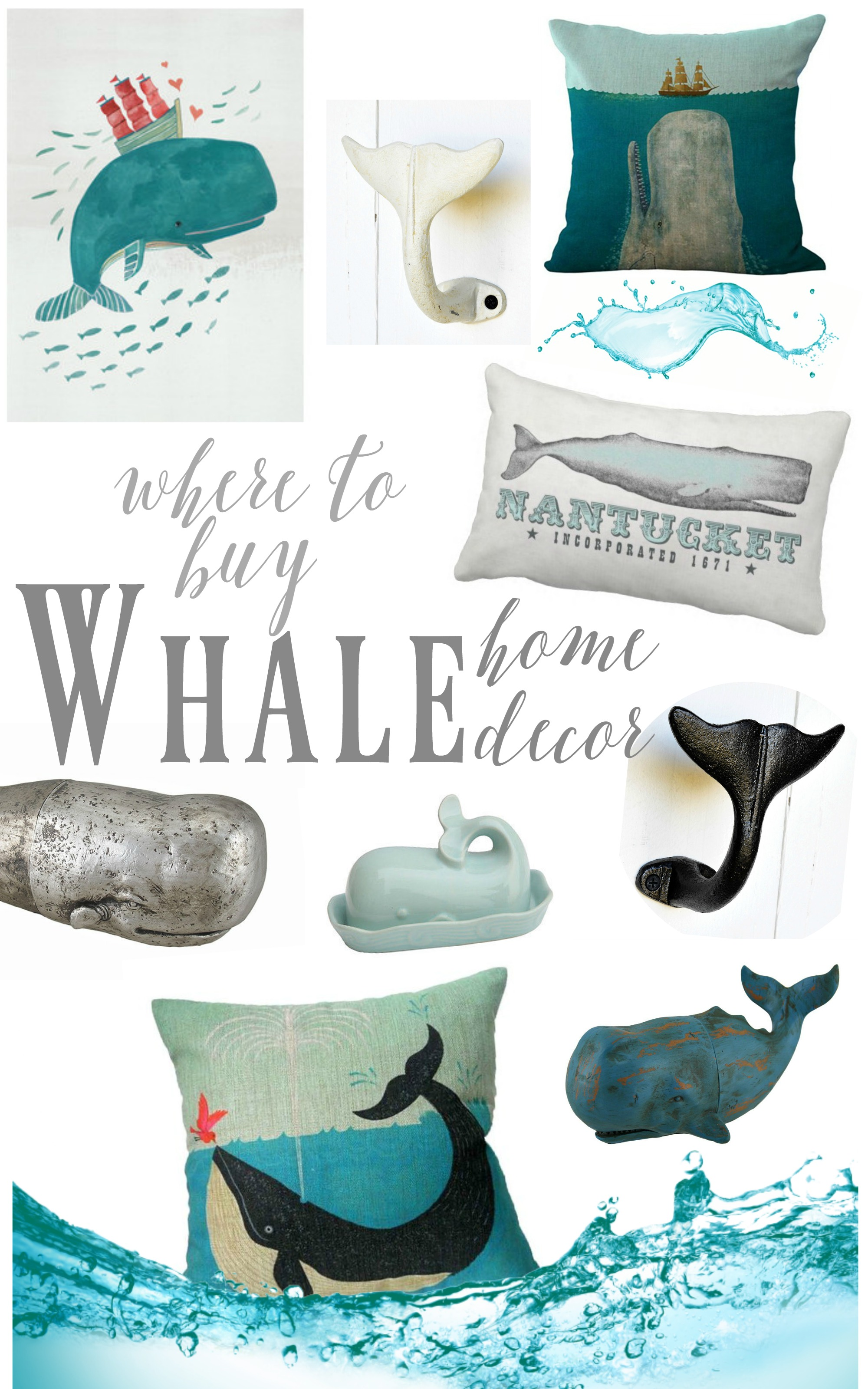 Where to buy coastal beach whale decor for Home decor items online