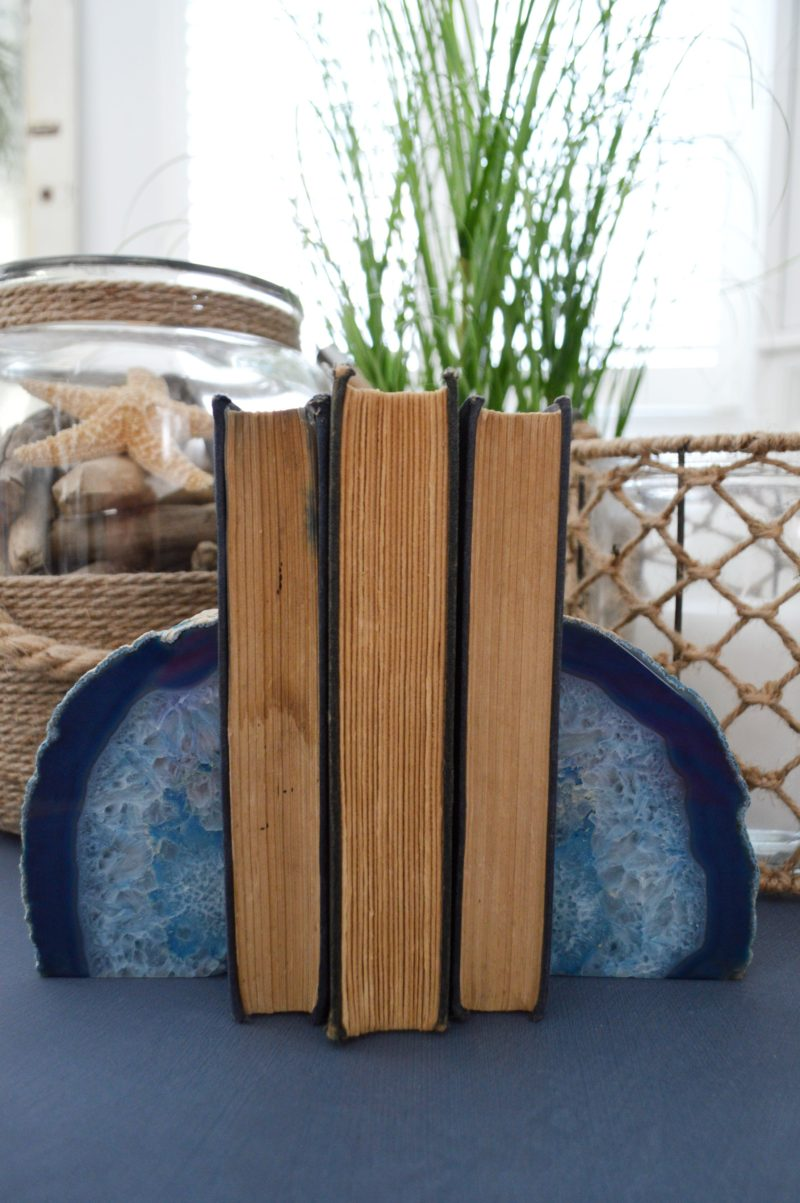 Blue Agate Geode Bookends - Neutral Navy Living Room Refresh