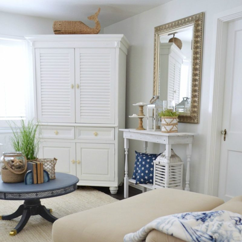 Casual Coastal Nautical Living Room - DIY rustic white wood console, neutral sofa, dark wood floors