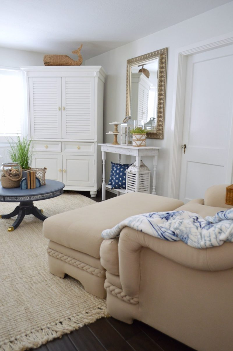 Neutral Navy Living Room Refresh - Casual Coastal Nautical Living Room - DIY rustic white wood console, neutral sofa, dark wood floors - Fox Hollow Cottage