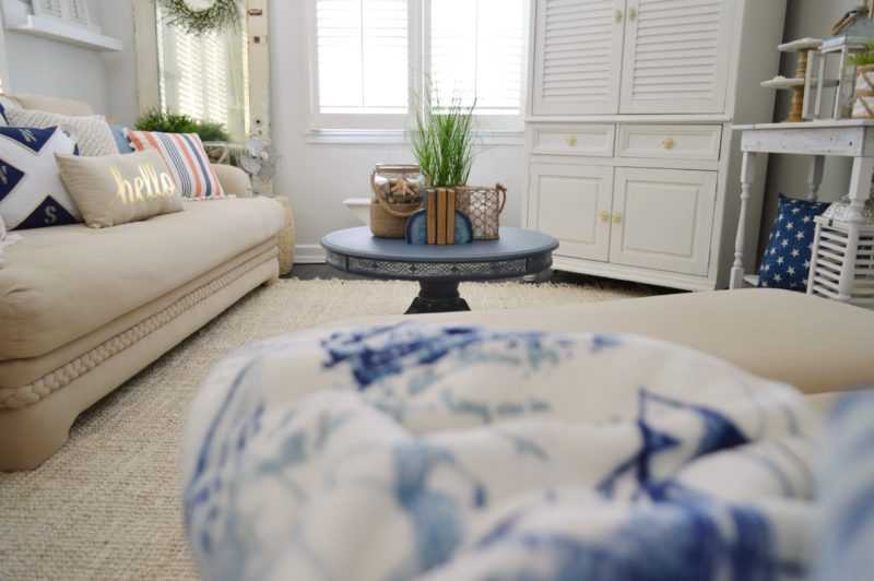 Neutral Navy Living Room Refresh Fox Hollow Cottage $5 coffee table - Cozy Coastal Decorating