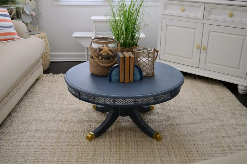 Neutral Navy Living Room Refresh - Coastal Coffee Table