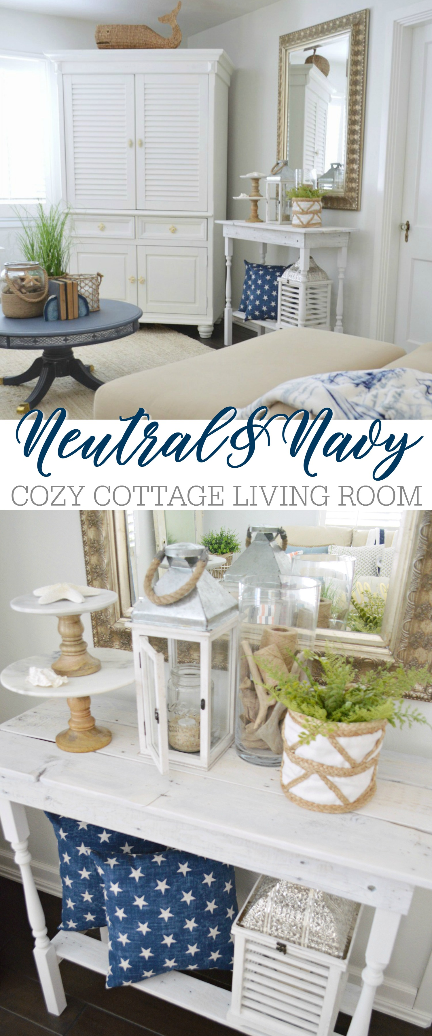 neutral and navy cozy cottage living room - Fox Hollow Cottage