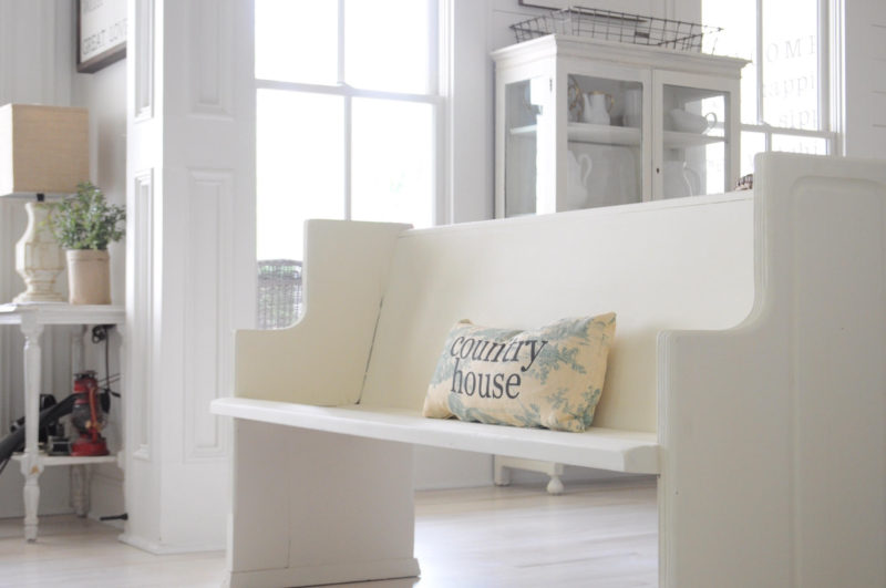 Life On The Shady Grove Farmhouse Home Tour. Church Pew Bench
