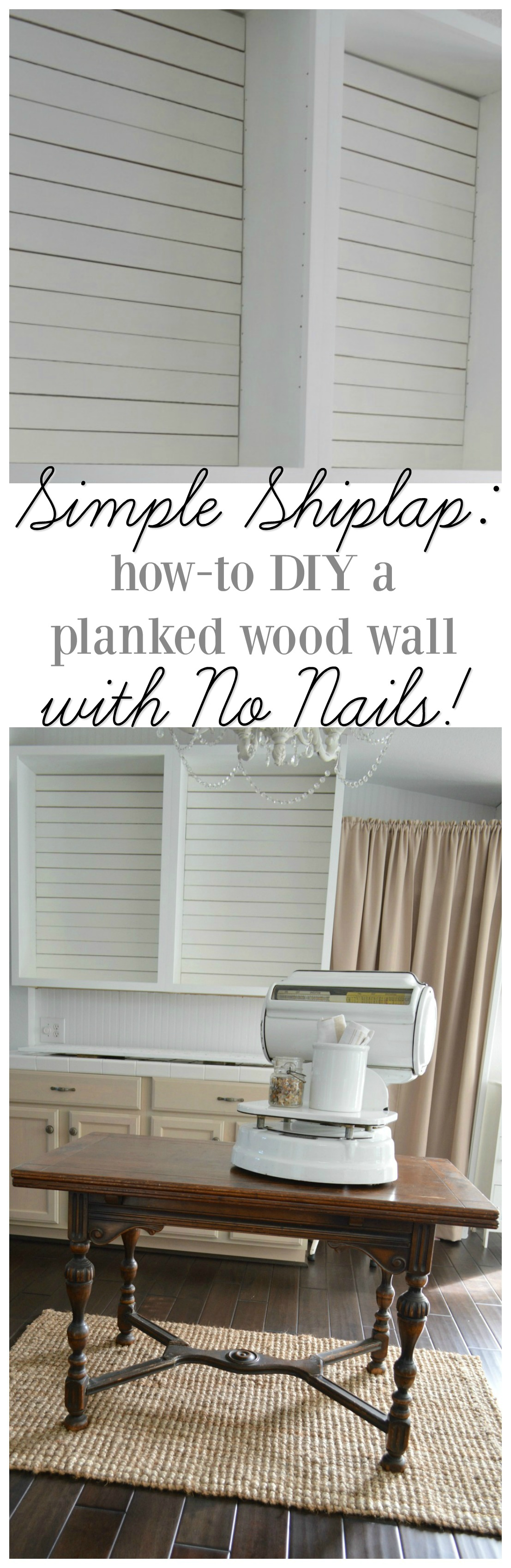 Open kitchen cabinet makeover update. White cottage farmhouse | Simple Shiplap: How To DIY a Planked Wall with No Nails by Shannon Fox at foxhollowcottage.com