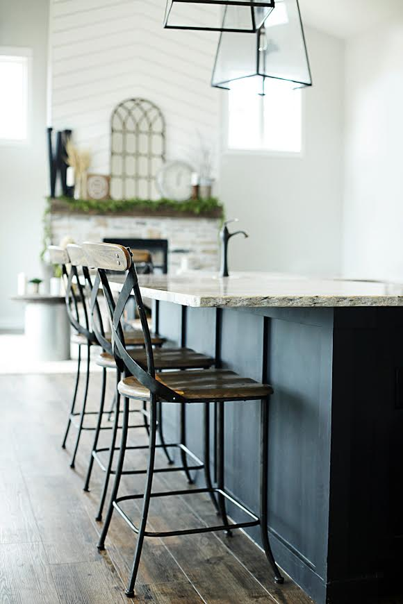 Custom Built Modern Farmhouse Home Tour with Household No 6 | Rustic industrial wood metal bar stools at black kitchen island