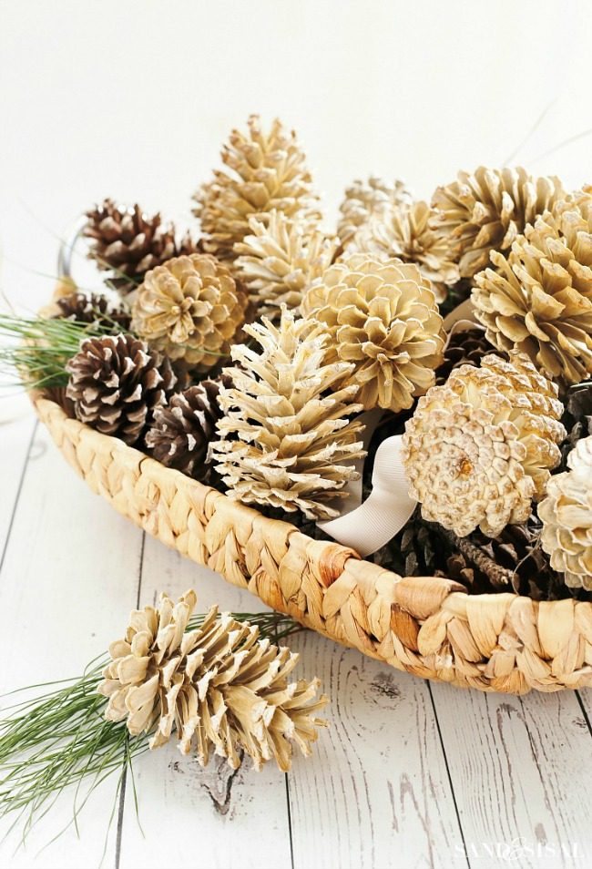 Bleached Pine Cones, Simple Fall Decor Ideas