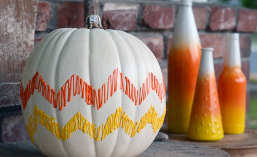 candy-corn-chevron-pumpkin, 31 Fabulous Pumpkin Decorating Ideas