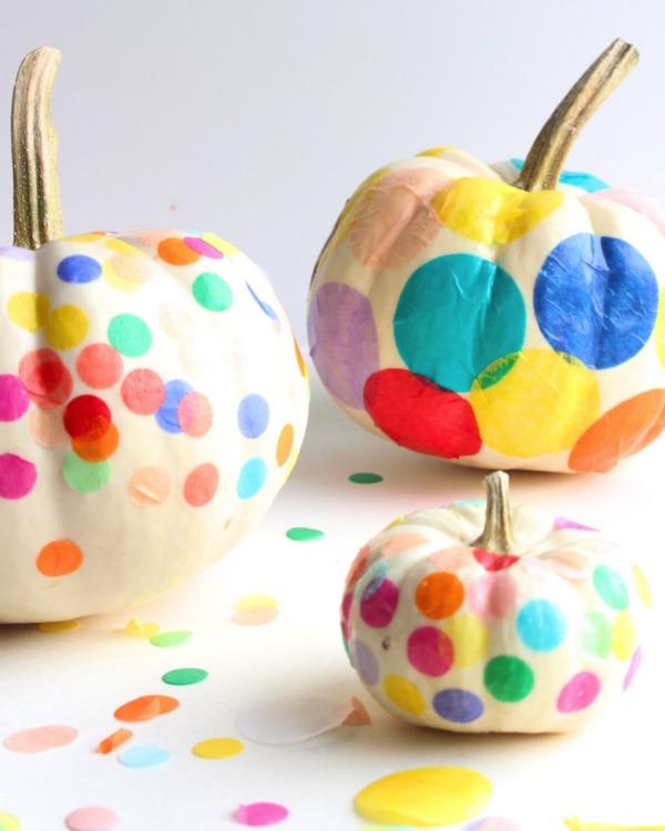 confetti-pumpkins, 31 Fabulous Pumpkin Decorating Ideas