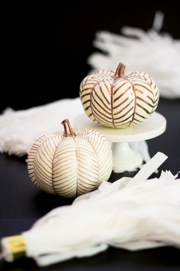 copper-herringbone-pumpkins, 31 Fabulous Pumpkin Decorating Ideas