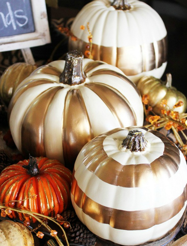 diy-gold-metallic-gilded-pumpkins, 31 Fabulous Pumpkin Decorating Ideas
