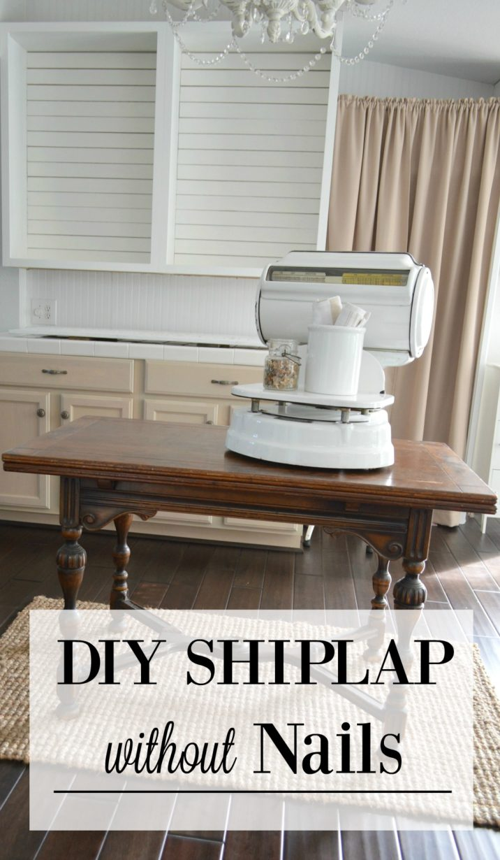 Open kitchen cabinet makeover update. White cottage farmhouse style | Simple Shiplap: How To DIY a Planked Wall with No Nails by Shannon Fox at foxhollowcottage.com