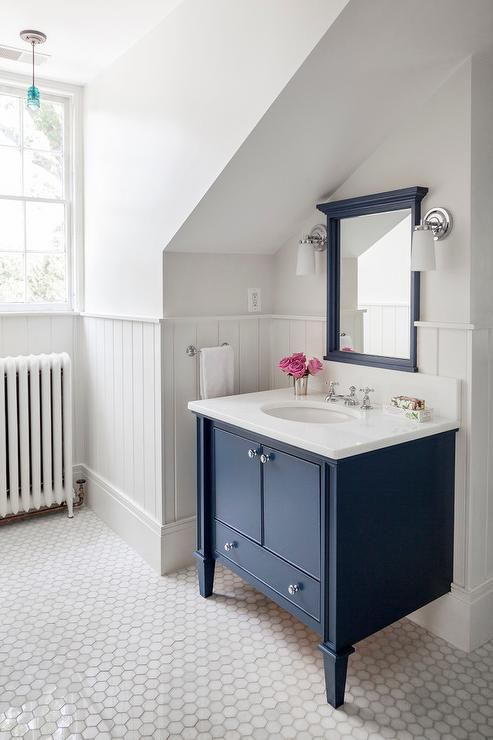 Navy Bathroom Decorating Ideas: Charming Vintage Cottage/farmhouse Home  With Blue Vanity Cabinet,