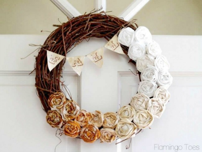 Fall Ombre Rosette Wreath, Simple Fall Decor Ideas