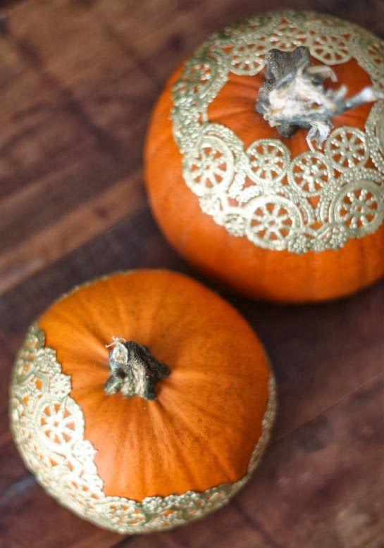 golden-doily-pumpkins, 31 Fabulous Pumpkin Decorating Ideas