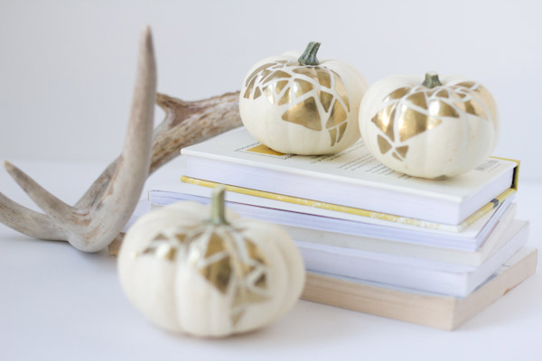 gold-geo-no-carve-pumpkins, 31 Fabulous Pumpkin Decorating Ideas