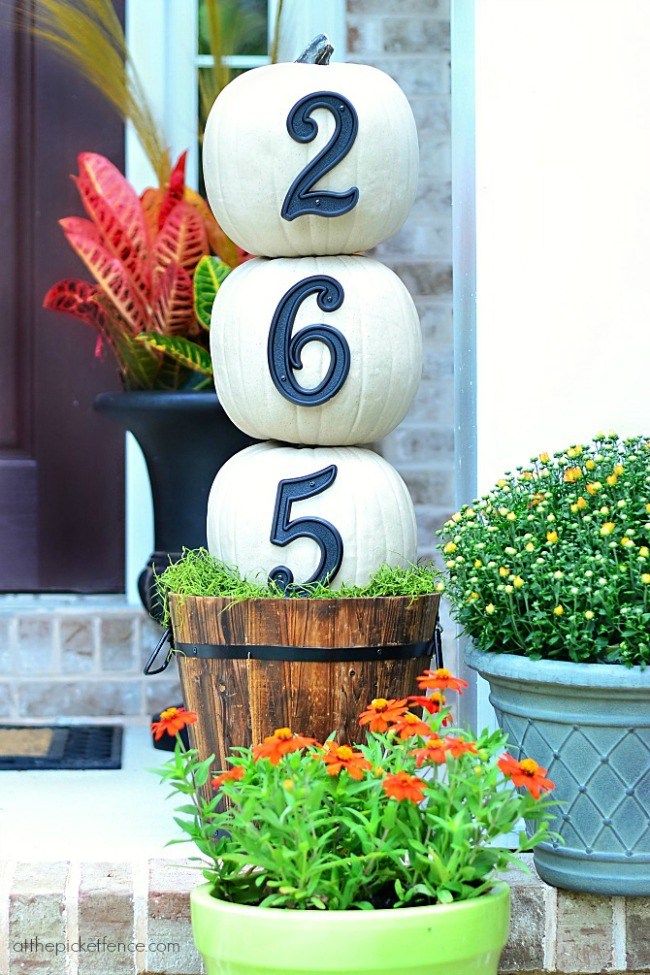 House Numbers Pumpkin Topiary, Simple Fall Decor Ideas