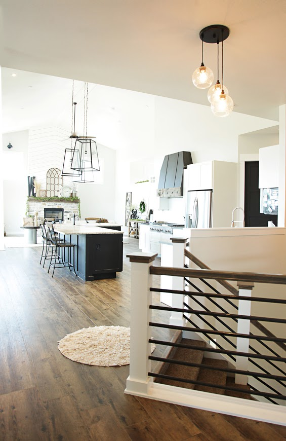Custom Built Modern Farmhouse Home Tour with Household No 6 | Great room open kitchen with island, range hood and fireplace