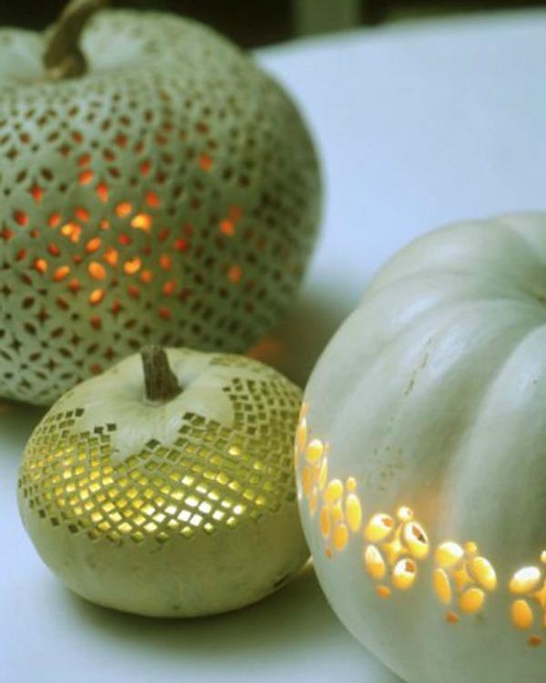 lace-patterned-pumpkins, Pumpkin Lanterns, 31 Fabulous Pumpkin Decorating Ideas
