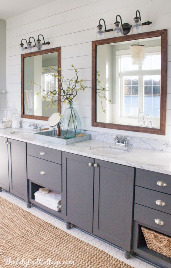 Navy Bathroom Decorating Ideas: Double marble topped vanity, blue vanity, shiplap walls | by Lily Pad Cottage
