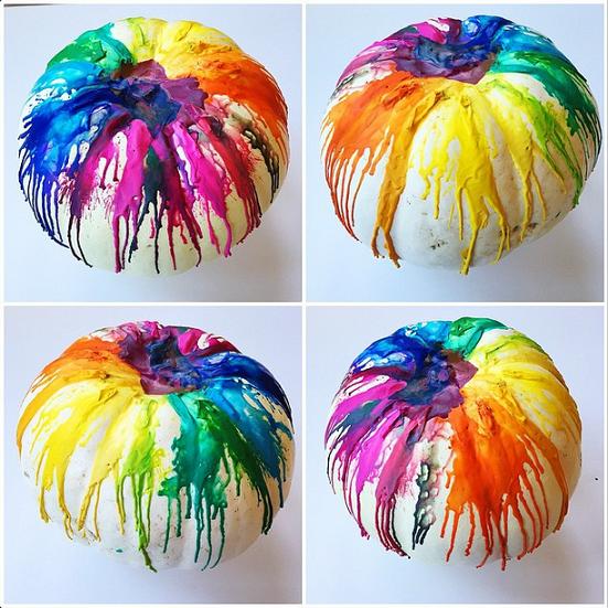 melted-crayon-pumpkins, 31 Fabulous Pumpkin Decorating Ideas