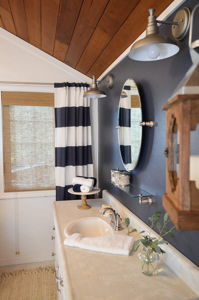 Bathroom Makeover How To navy blue cottage bathroom makeover - fox hollow cottage