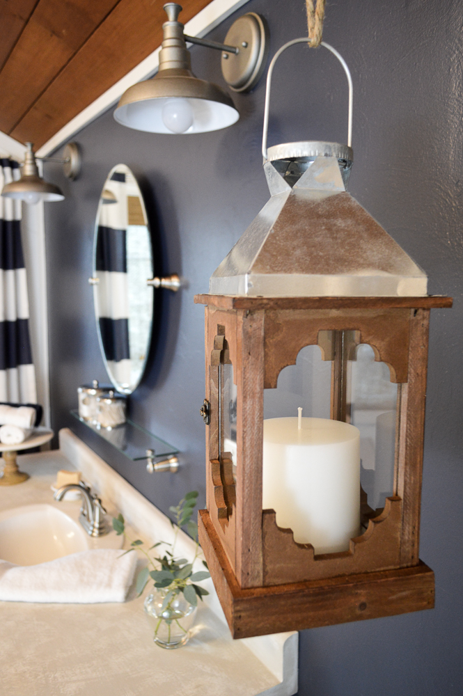Navy Blue Cottage Bathroom Budget Breakdown and Shopping Sources - Nautical Coastal Hanging Wood Lantern