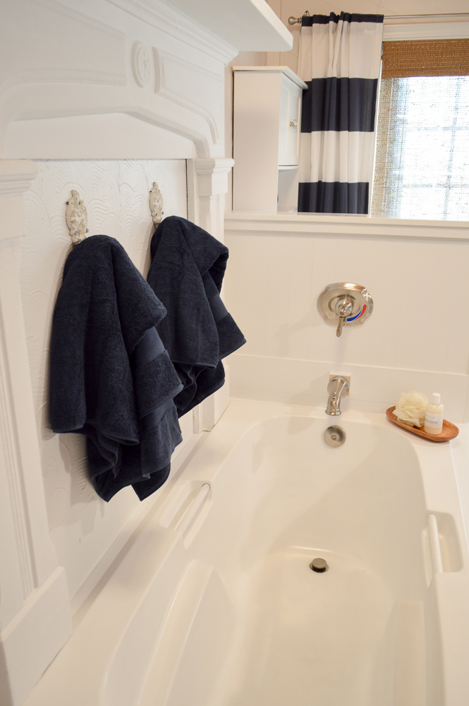 Navy Blue Cottage White Bathroom Budget Breakdown and Shopping Sources