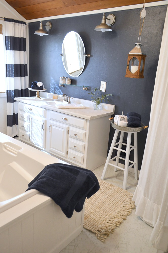 DIY Home Improvement - Navy Blue Cottage Bathroom Makeover