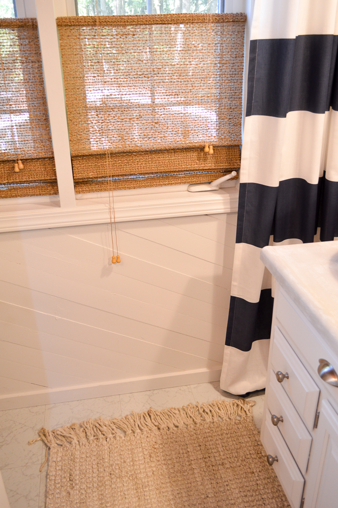 Navy White Stripe Curtain - Woven Blinds - Blue Cottage Bathroom Makeover