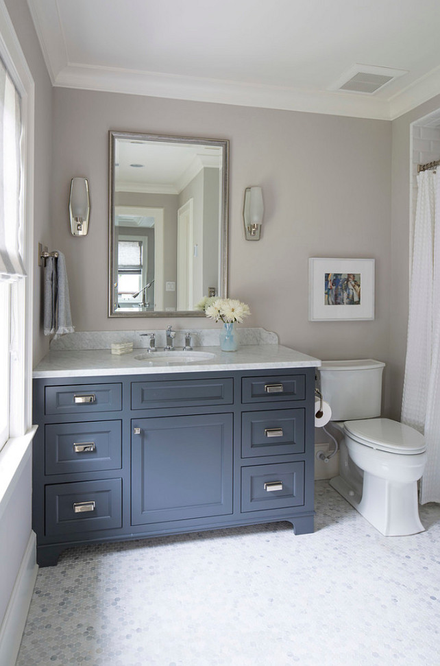 Navy Bathroom Decorating Ideas: Benjamin Moore French Beret Vanity