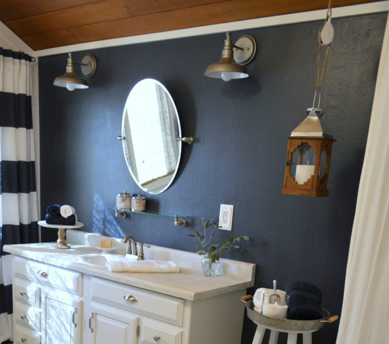 Navy blue cottage bathroom makeover fox hollow cottage Navy blue and white bathroom
