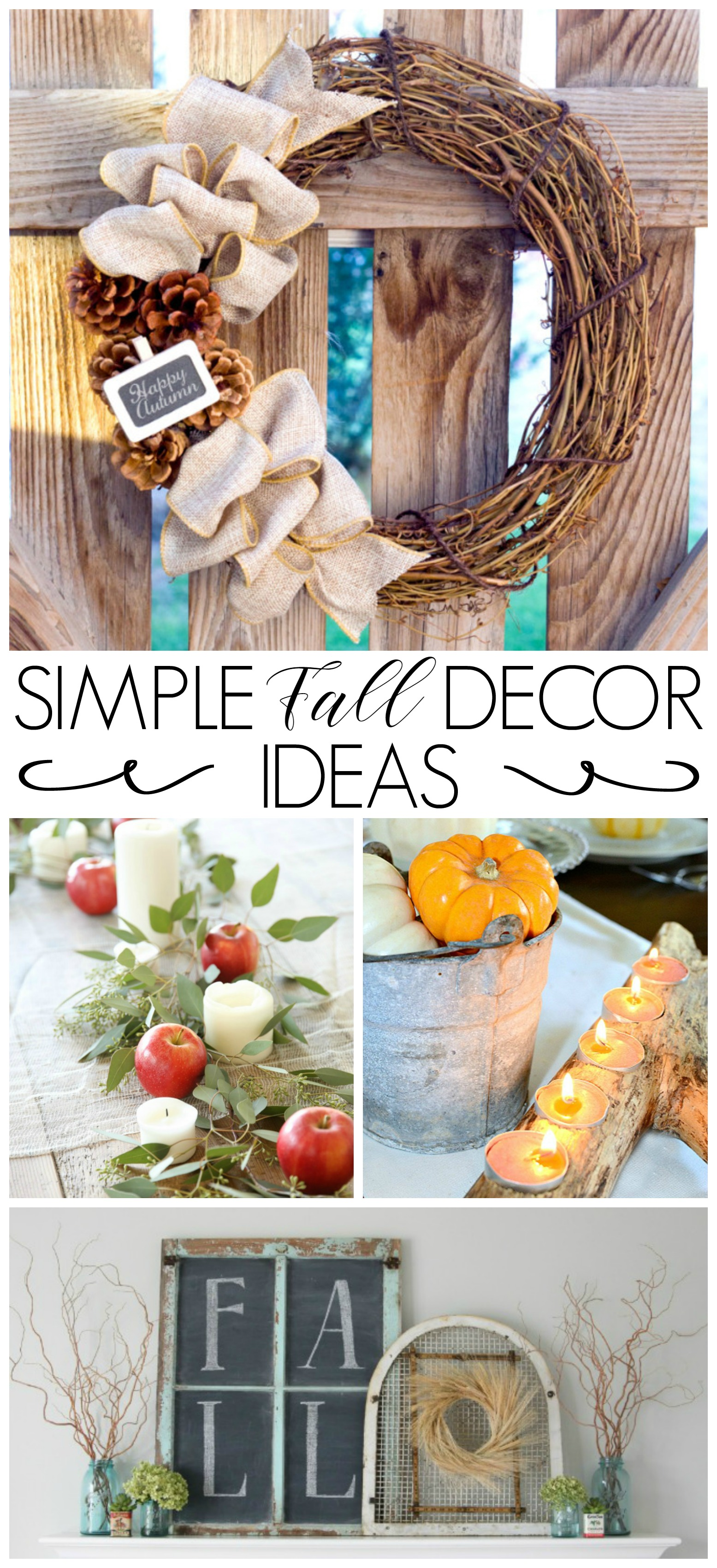 Simple Fall Decor Ideas for the home, porch and table at foxhollowcottage.com