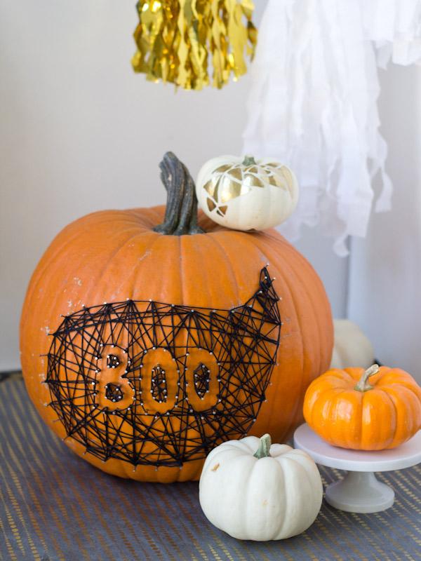 diy-string-and-nail-art, 31 Fabulous Pumpkin Decorating Ideas