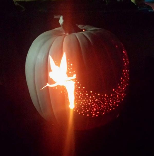 tinkerbell-and-pixie-dust-carved-pumpkin, Pumpkin Lanterns, 31 Fabulous Pumpkin Decorating Ideas