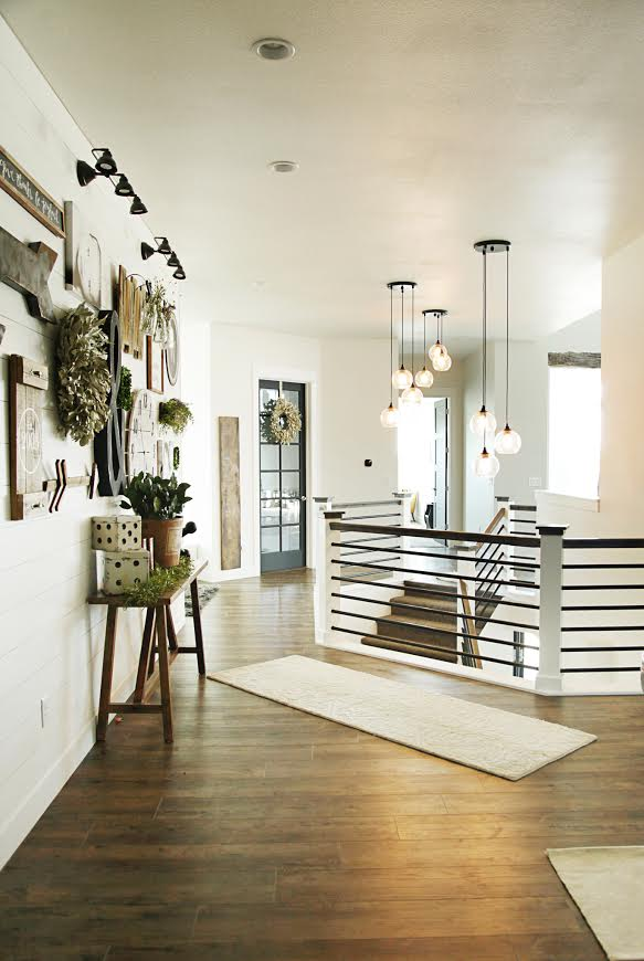 Custom Built Modern Farmhouse Home Tour with Household No 6 | Landing with iron railing