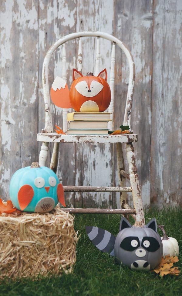 woodland-creatures, 31 Fabulous Pumpkin Decorating Ideas