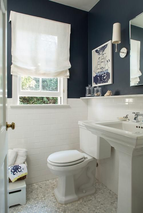 Navy Bathroom Decorating Ideas: White Subway Tile, Navy Blue Painted Walls,  Marble Hex