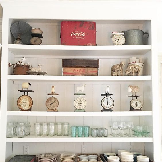 Life On The Shady Grove White Farmhouse Home Tour at Fox Hollow Cottage. Vintage Cottage Kitchen Goods
